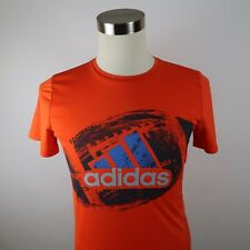 Adidas Boys Polyester Clima Lite SS Crew Neck Orange Graphic T Shirt Youth Large
