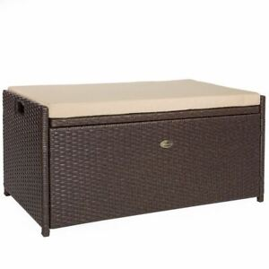 Outdoor Deck Box Storage Wicker All Weather Rattan Pool Backyard Patio w/Cushion