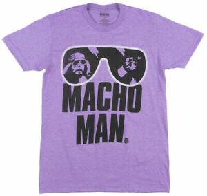 WWE MACHO MAN RANDY SAVAGE T-SHIRT HEATHER PURPLE MENS RETRO WRESTLEMANIA TEE