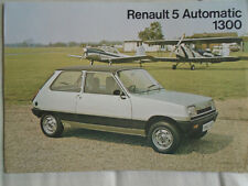 Renault 5 Automatic 1300 brochure c1970's