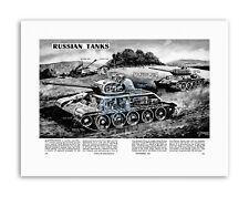 La GUERRA CARRI ARMATI RUSSI T34 Joseph Stalin Militare USA Poster in Tela Disegno Militare
