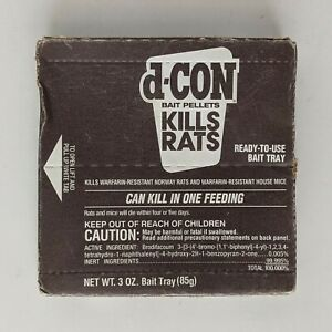 New d-CON Rodent Bait Pellets 1 Tray Kills Mice & Rats 3 oz 1995 Poison ☠️