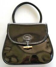 Rare Vintage Longchamp Paris Patent Black Leather Handbag