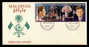 DR WHO 1989 MALDIVES FDC JFK 25TH ANNIV SPACE APOLLO SE-TENANT C238602