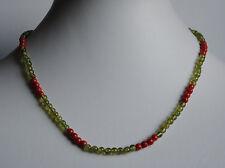 Bambú CORAL Y PERIDOTO COLLAR, rojos y verde collar de piedras preciosas