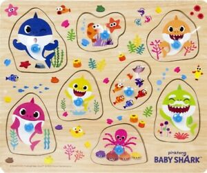 Pinkfong Baby Shark Wooden Button Puzzle - Kids Fun Play Game Nusery Pre-School