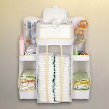 Baby Nursery Storage Hang Crib Organizer Diarper Shelves Table Holding Toy Cream