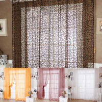 Floral Type Door Window Curtain Room Drape Panel Sheer Scarf Valance Tulle Voile