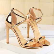 Women Shoes Ankle Cross Strap Stiletto Peep Toe Sandals High Blcok Heel Party SZ