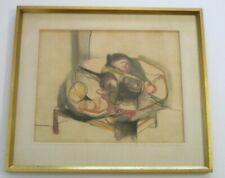 MID CENTURY MODERN DRAWING STILL LIFE ABSTRACT EXPRESSIONIST CALIFORNIA VINTAGE
