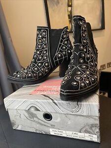 Jeffrey campbell Embellished Black Suede Western High Heel Boots Size 10 US 8 UK