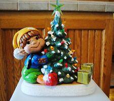 Vintage Ceramic Lighted Christmas Tree Elf Gifts
