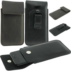 FLAP GENUINE LEATHER VERTICAL POUCH WITH BELT CLIP CASE COVER FOR MOBILE PHONES