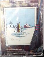 Paragon Crewel Stitchery Kit Winter On The Farm By Sandra Kmet No. 0437 Sealed