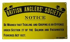 Británico PESCADORES Sociedad Letrero Metálico de pared - Vintage 1927 pesca