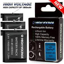 3 Pcs 1900mAh HIGHVOLTAGE Battery Kit for GoPro HERO4 Black & Silver / AHDBT-401