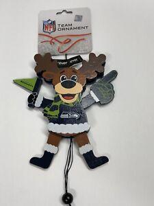 Seattle Seahawks CHEERING REINDEER Christmas Tree Holiday Ornament NEW