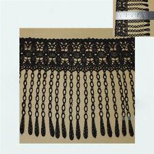 2 Yds DIY Black Floral Lace Trims Fringe Sewing Tassels Hems Lace Costumes Decor