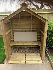Large Wooden Arbour,Deep Shelter,Outdoor Bench,Real Arbour/Shelter,Enclosed