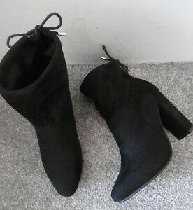 Boohoo Black Suedette Tie Back Heeled Sock Boots Size UK 5 EU 38