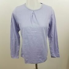 brooks brothers 346 tee long sleeve S cotton purple ruched basic solid light NEW