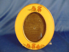 """Oval ceramic Baby picture frame table top rabbits bunnies 5 3/4"""" x 4 3/4"""" art"""