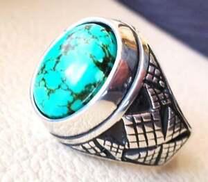 Turkish Tibetan Turquoise 925 Silver Men's Ring Heavy Signet Jewelry P1628