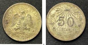 1944 Mexico 50 Centavos Coin  .720 Silver     ASW .1929 Toz     D41