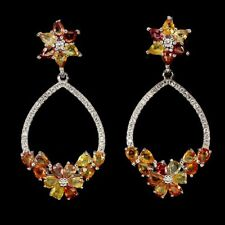 Große Ohrringe Saphir gelb orange rot & CZ 925 Silber 585 weißvergoldet