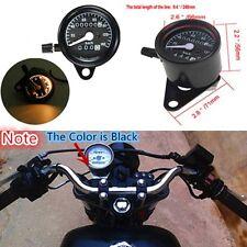 Universal Black Motorcycle Dual Odometer Speedometer Gauge Meter Backlight New