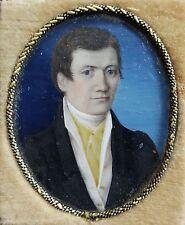 Fein gemaltes Miniatur Portrait eines Herren, Gouache Malerei, im Etui, um 1820
