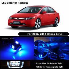 6PCS Blue LED Bulbs Interior Package Kit for 2008 Honda Civic White for License