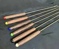 "Vintage Set of 6 Fondue Forks Stainless Steel & Wood Made in Japan 10.5"" Long"