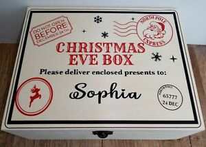 Personalised Christmas Eve wooden Box 25 x 20 x10cm