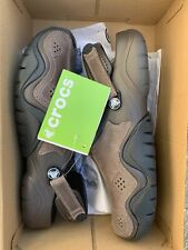 New with Tags Crocs Swiftwater Leather Clog Slingback Shoes Brown Men's Size 11