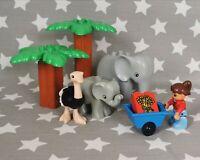 Official Lego Duplo Animal Safari Bundle (Elephant family Ostrich Person Trees)