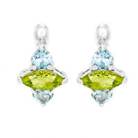 EARTH MINED 9X5MM PERIDOT SKY BLUE TOPAZ RARE STERLING SILVER 925 EARRING