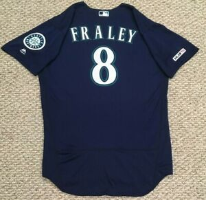 FRALEY size 46 #8 2019 Seattle Mariners game used jersey road blue 150 MLB HOLO