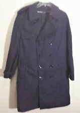 navy blue rain coat trench coat by size 42S (M)  Made in the USA