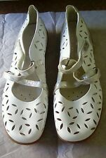 Remonte Dorndorf White & Silver Cutout Leather Mary Jane Shoes Pumps UK 8 EU 42