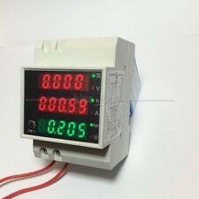 AC 110V 220V Digital DIN RAIL 100A KWH watt energy power meter Ammeter Voltmeter