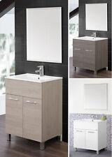 Mobile Bagno per Arredo 60cm Laccato Bianco con Piedini 2Ante Specchio Lavabo da