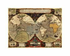 Map Antique Hemisphere Globe World Art Canvas Print