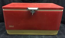 "Vtg 28"" Wide 70s Red Metal Coleman Cooler Chest with Handles - Camping Props"