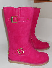 new ladies sexy Fuchsia Round Toe Winter Mid-Calf Boot Fur  Top/Inside Size 6.5