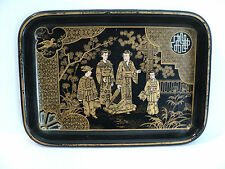 19th C. JAPANESE CHINOISIERE BLACK LACQUER PAPIER MACHE SMALL RECTANGULAR TRAY