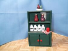 Miniature Dollhouse Furniture - Small Green Hutch w/ Canisters, etc  #820