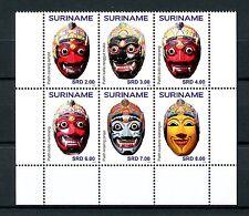 Suriname 2016 MNH Masks 6v Block Cultures Ethnicities Stamps