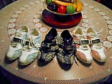 3 Bebe Cleat Sneakers size 6 Women's Pink & White, Blue & White, Black & Beige