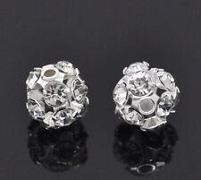 10 Perles de Strass Boule Argenté 6-7mm Dia.